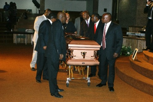 Pall-bearers escort the coffin containing Gardson Kamau after the service. Photo by Tony Karanja (Jambonewspot)