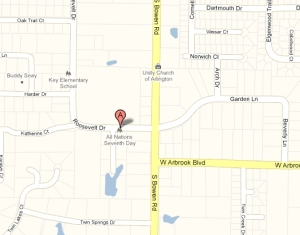 Location of All Nations SDA Church-Arlington, TX