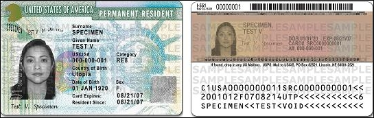 "The redesigned the Permanent Resident Card - commonly known as the ""Green Card"""