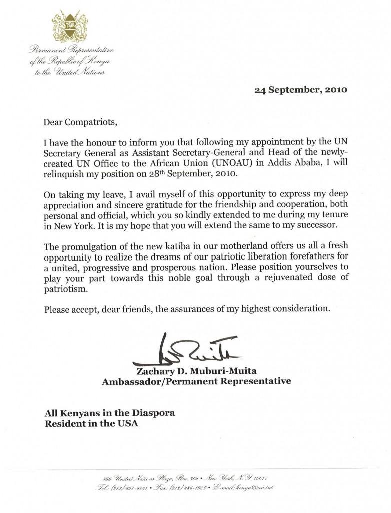 Un ambassador zachary muburis farewell letter to kenyans in un ambassador zachary muburis farewell letter to kenyans in diaspora habari za nyumbanion jambonewspot thecheapjerseys Gallery