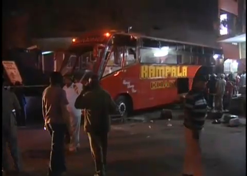 The Kampala-bound bus that was attacked on Monday night after four men lobbed grenades as passengers were boarding.
