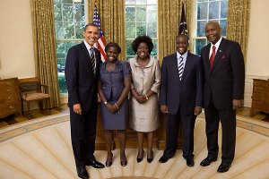 President Barack Obama with Ambassador Elkanah Odembo and his family as the Kenyan ambassador presented his credentials earlier this year.