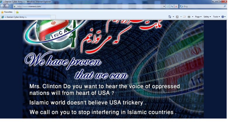 A copy of the VOA website after it was hacked by a group calling itself the Iranian Cyber Army.