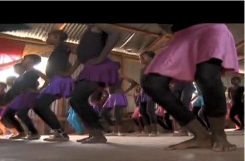 Kenyan children go through ballet class in the Mathare slums