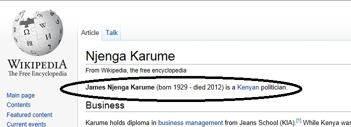 njenga karume Njenga Karumes False Death Reports