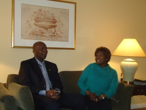 Ambassador Elkanah Odembo and Cabinet Minister Beth Mugo chat after the US envoy paid her a courtesy call at a Pennsylvania hospital