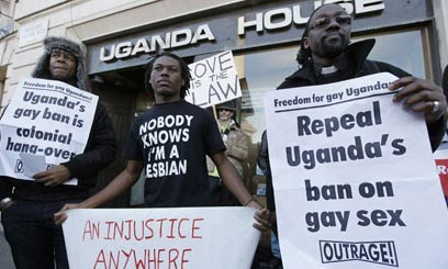 Homosexual rights demonstrators in Uganda