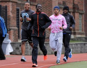 Edward Cheserek, in front, training with his St. Benedict's Prep teammates in Newark.