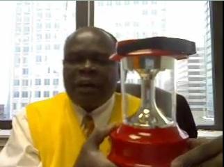David Amakobe who hopes his solar lamp will soon be a Walmart product